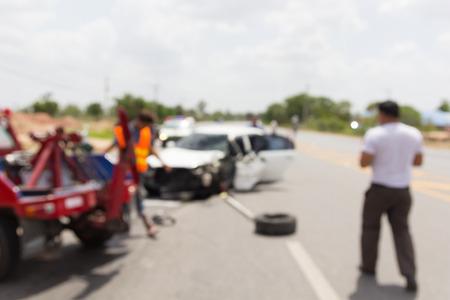 De focused car accident on road, insurance.