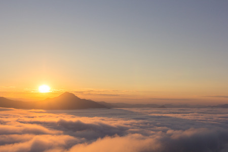 loei: Beautiful sunlight and fog at Phu Thok Mountain at Chiang Khan ,Loei Province in Thailand.