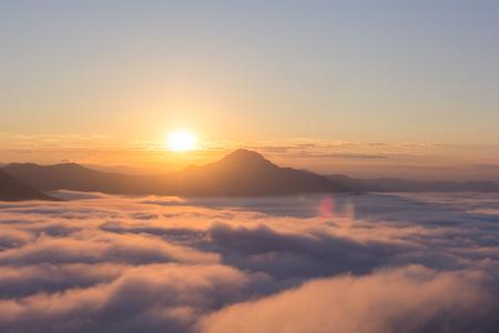 美しい日光、霧プー タク山チェンマイカーンで、タイのルーイ県。