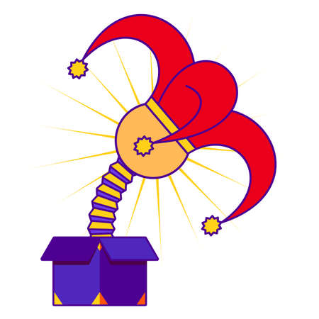 springing: April fools day concept with jester in red and yellow hat springing out of a box. Flat design vector illustration on white background. Illustration