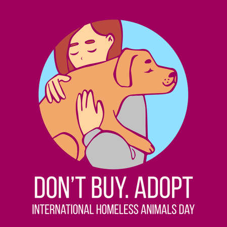 circle of friends: Vector cartoon illustration of young girl hugging dog. Human with dog in his hands. Hand drawn isolated objects in circle on purple background. International Homeless Animals Day. Adopt, dont buy.