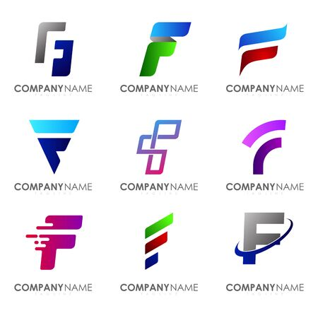 Set of modern alphabet logo design letter F. Initials logo collections.