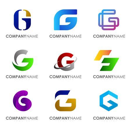 Set of modern alphabet logo design letter G. Initials logo collections.