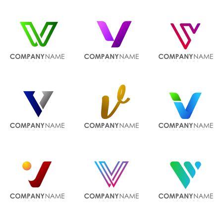 Set of modern alphabet logo design letter V. Initials logo collections.