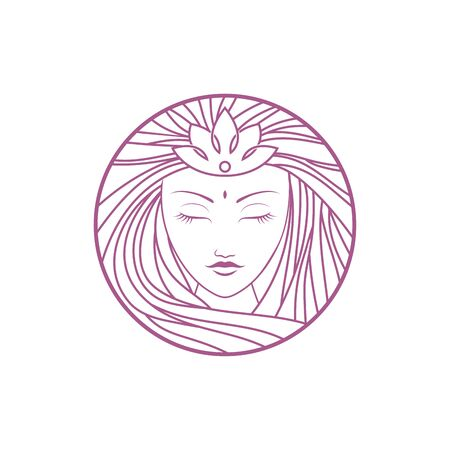 Simple elegant monoline goddess logo design. Line art style logo design inspiration.