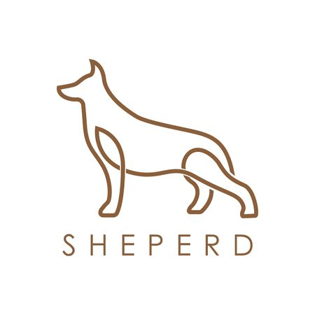 Simple elegant monoline German Shepherd Dog logo design. Line art style logo design inspiration.