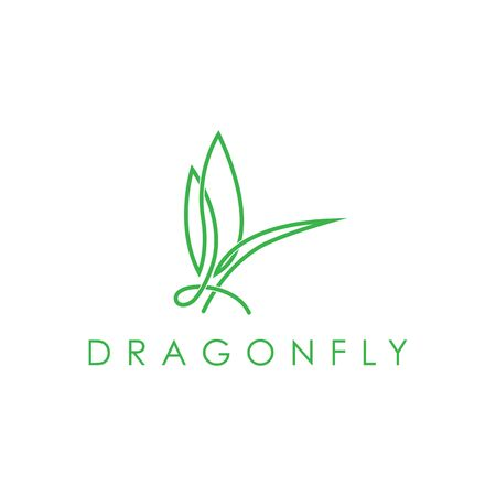Simple elegant monoline dragonfly logo design. Line art style logo design inspiration.