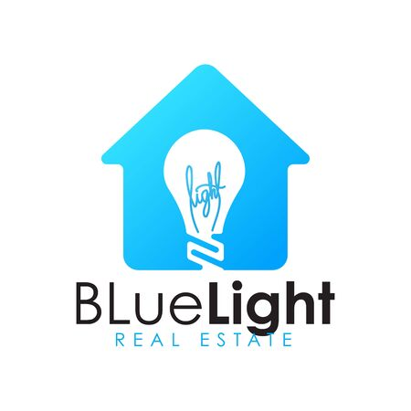 Modern minimalist bulb light house logo design. Real estate and mortgage logo design inspirations.
