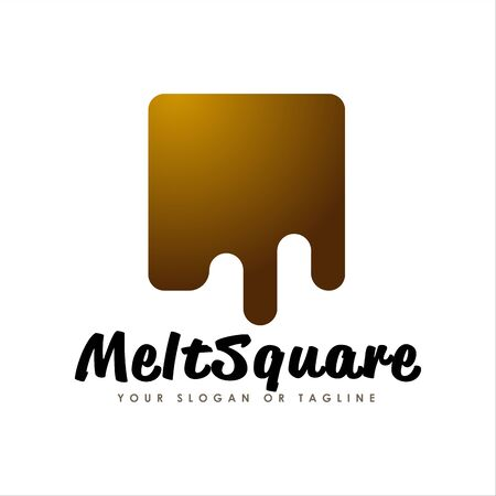simple modern melt chocolate square logo design. Logo Design inspiration. Ilustração