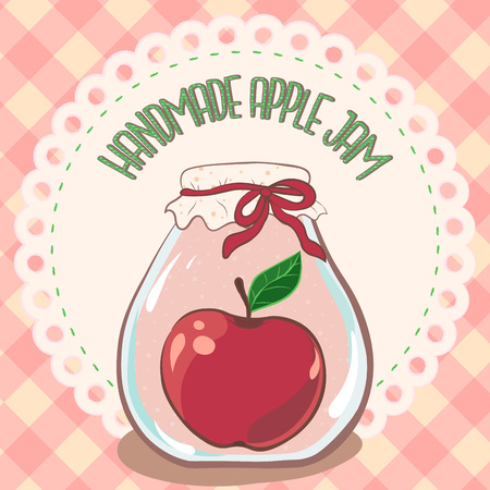 Apple jam label. Printable jar label template for package design, logo, menu, decor, card, print, web, logo, sticker. Handmade red apple jam jar on lace doily label and gingham tablecloth. Vector, eps