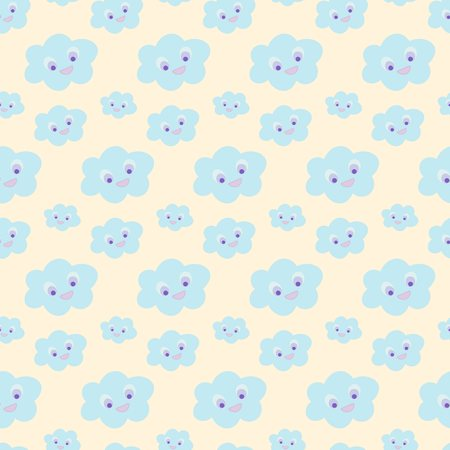 Cloud wallpaper for nursery. Baby bedding, nursery pattern. Seamless baby pattern with cute blue smiling clouds on yellow background. Vector illustration for baby fashion, textile, wrap, print design.