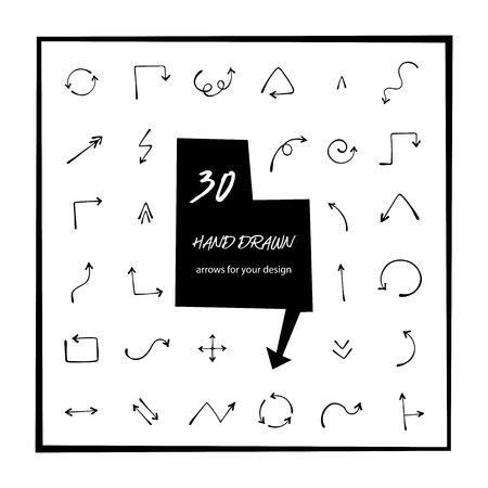 30 hand drawn arrows vector art.