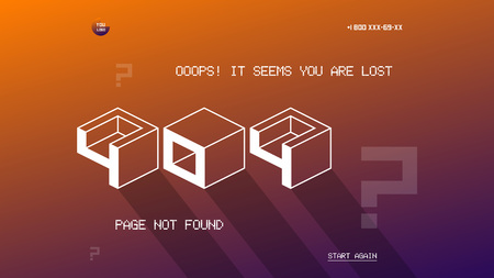 404 page template for website. Flat design vector 404 page design template. Flat design page not found 404 error vector. Ilustração