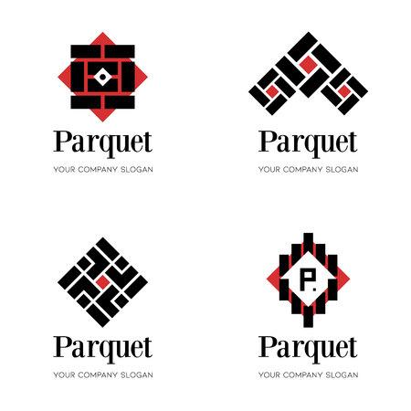 Parquet flooring icon template. Abstract design templates for parquet company, flooring company. Editable vector template of flooring icon, abstract parquet designs.