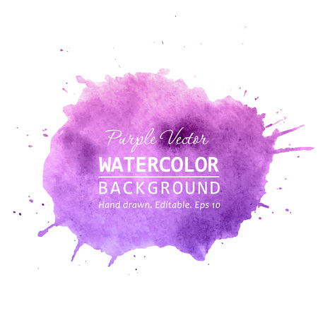 Purple paint splatter background vector. Watercolor splatter vector background for text, banner label, logo design. Watercolor paint splatter vector background. Isolated watercolor splatter vector art.