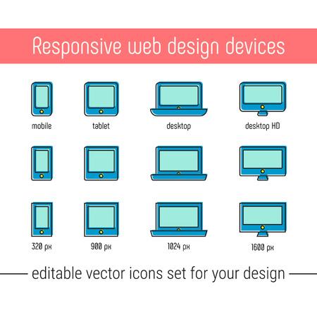 Responsive design icons set vector. Flat responsive design icons in memphis style. Vector responsive design icons set with mobile, tablet, desktop devices. Responsive design icons for website, ad, app. Ilustração
