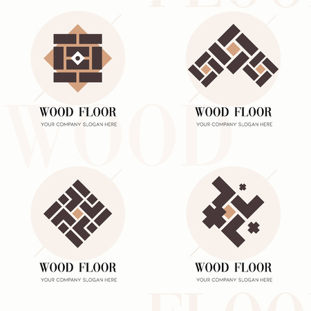 Wood flooring company logos. Wood flooring company logos in flat style for website. Editable vector template of wood flooring company logos. Vector company logos for wood flooring, parquet, laminate Ilustração