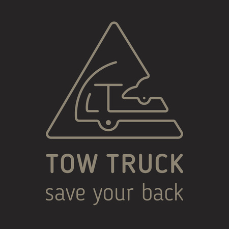 Towing truck icon isolated vector. Vector towing truck icon isolated for logo, branding. Flat towing truck icon isolated for sign, website, advertise. Line art vector towing truck icon, label, symbol Ilustracja