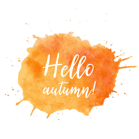 Hello autumn text plate vector. Hello autumn text plate vector, background for sale, advertise card. Watercolor Hello autumn text plate, label, background. Orange watercolor Hello autumn text plate