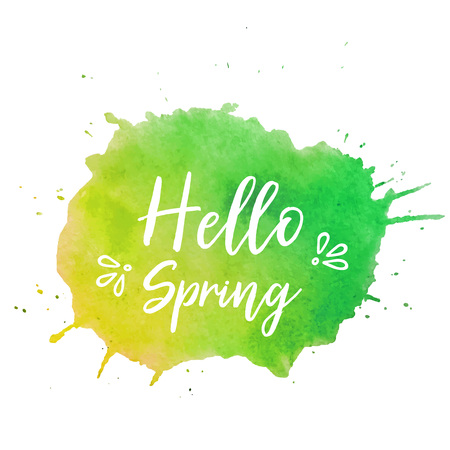 Hello spring text plate vector. Hello spring text plate vector, background for banner, sale, ad, card. Watercolor Hello spring text plate, background. Green-yellow watercolor Hello spring text plate