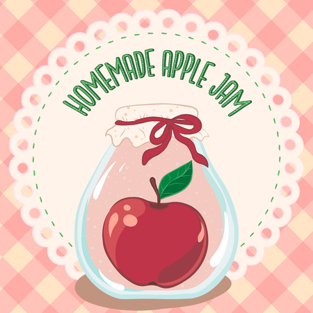Apple jam jar, preserve vector. Ilustração