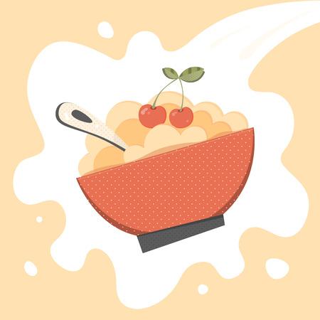 Cereal, porridge vector. Porridge, cereal bowl retro vector illustration for menu, package, ad, print. Millet porridge, cereal bowl with cherry, spoon. Cereal bowl, millet porridge on vector milk Illustration