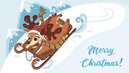 Deer on sleigh vector.