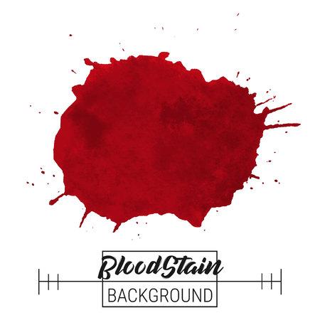Blood splatter blotch vector. Blood splatter blotch and drops vector on white background for text, sale, banner, advertise design. Watercolor blood blotches, drops. Paint blood splatter blotch image Ilustração
