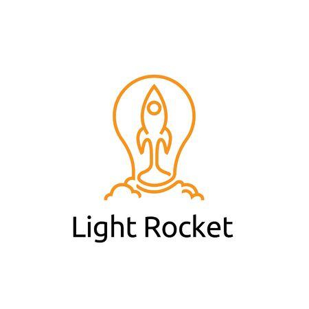 Light Bulb Rocket Lamp Launch Creative Idea Logo Template Illustration
