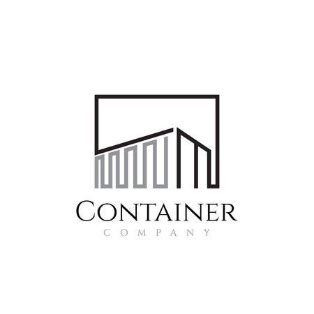 Container Box Shipping Line Art Abstract Logo Template