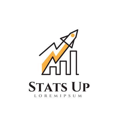 Statistics Up Business Development Progress Rocket Chart Logo Template