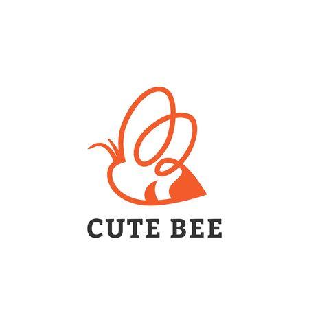 Cute Little Honey Bee Flying Line Art Logo Template