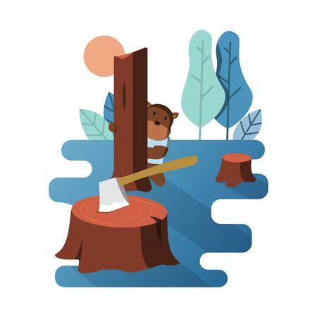 Grizzly Bear Hiding Behind Tree Due to Illegal Logging Flat Illustration