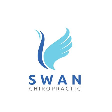 Beautiful Swan Wing Chiropractic Spine Health Care Logo Template