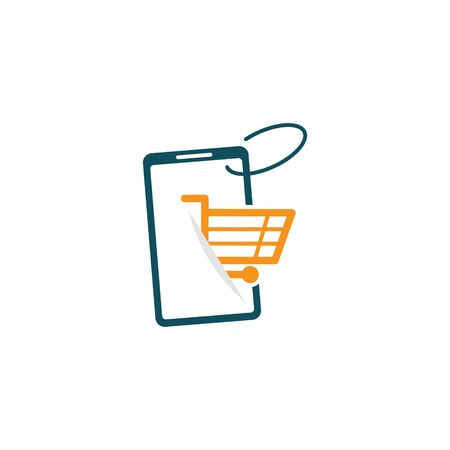 Shopping Online Shop Marketplace Buy Sell Digital Phone Cart Logo Icon Symbol 일러스트