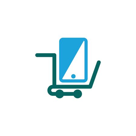Phone Shopping Cart Online Shop Marketplace Buy Sell Logo Icon Symbol 일러스트