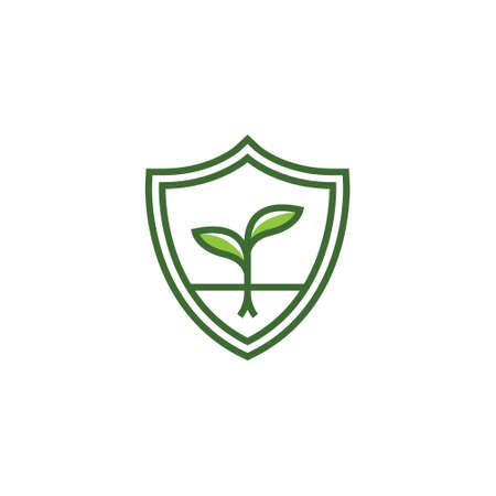 Growing Shoot Bud Plant in Shield Protection Eco Logo Symbol