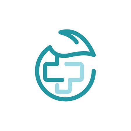 Leaf Cross Health Care Medical Line Logo Symbol