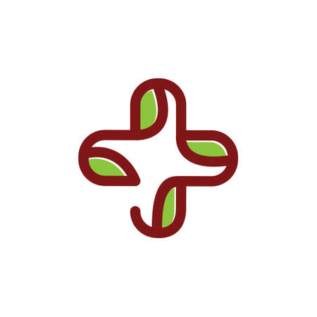 Leaf Cross Health Care Medical Line Logo Symbol Stock fotó - 155568736