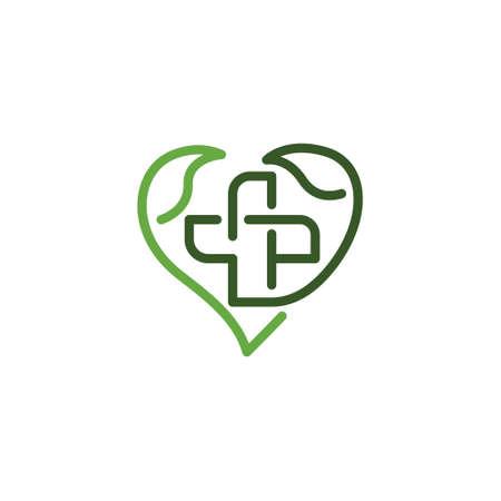Leaf Heart Cross Health Care Medical Line Logo Symbol
