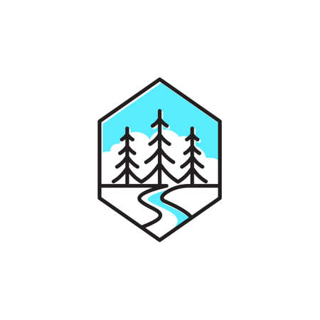 Hexagon Fir Coniferous Pine Forest Tree Nature Line Logo