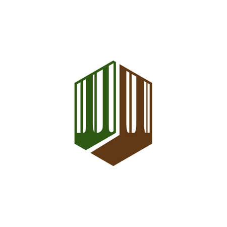 Hexagon Forest Woods Big Tree Nature Adventure Abstract Logo