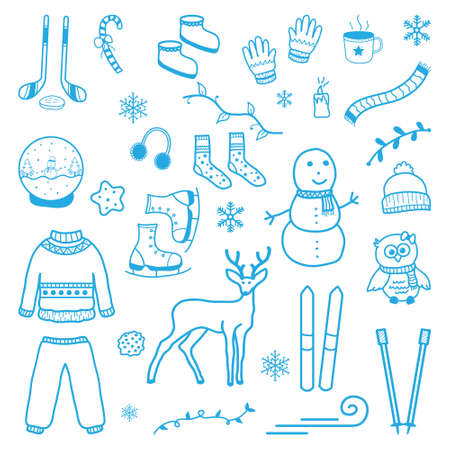 Winter Snow Holiday Element Ornament Hand Drawn Doodle Vettoriali