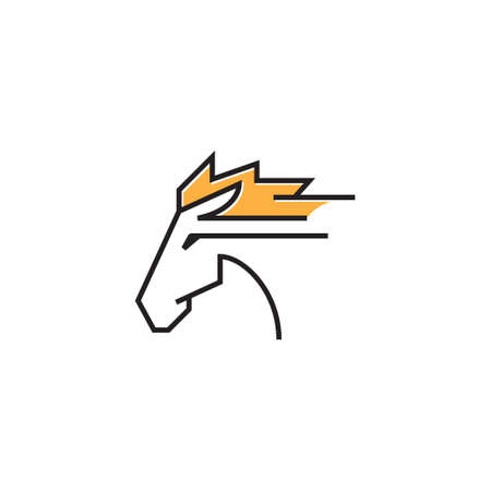Race Horse Head Run Quick Fast Speed Line