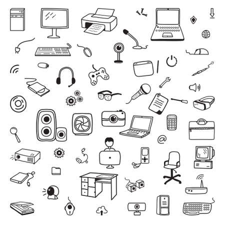 Computer Laptop Office Equipment Internet Technology Element Doodle