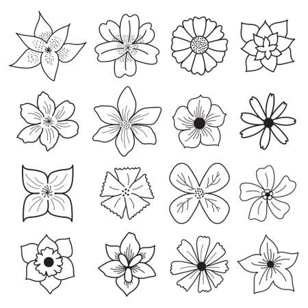 Simple Hand Drawn Style Flower Floral Doodle Icon Set