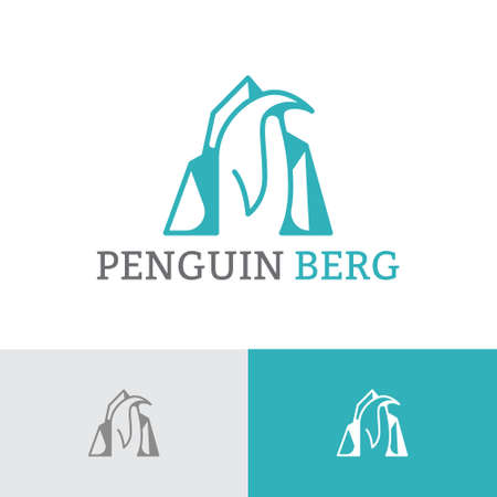 Penguin Ice Berg Polar Animal Cool Logo Template