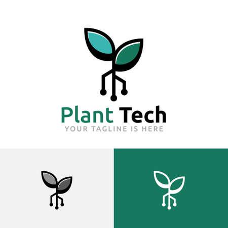 Green Plant Technology Sprout Grow Modern Logo Logó