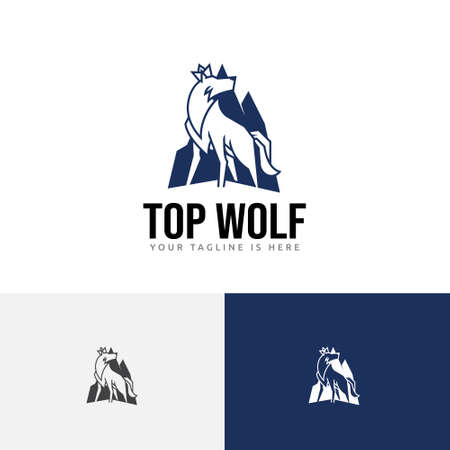 Top Mountain King Crown Wolf Alpha Logo