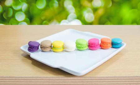 multicolored: macaroon multicolored on white dish